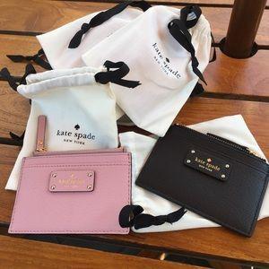 Kate Spade Card Wallet Holder Pink or Black w/ bag
